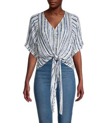 karen kane women's stripe tie-front top - white print - size l