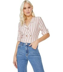 amaro feminino blusa botões listrada viscose, listrado rosa fino