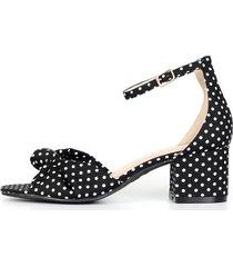 sandalia estampada de puntos blanco & negro con moño emma - le frankie