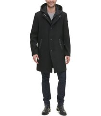 kenneth cole new york men's winged collar with inner lightweight bib and hood jacket