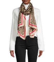 vince camuto women's logo stripe leopard-print scarf - light pink