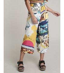 calça feminina salinas pantacourt estampada praiana amarela