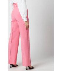 de la vali women's lily trousers - pink solid - uk 12