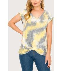 women's tie dye v-neck twist front t-shirt