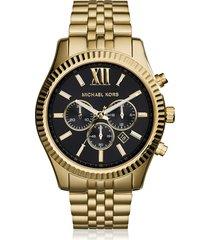 michael kors designer men's watches, lexington gold tone chronograph men's watch