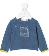 knot raglan sleeve bear sweater - blue