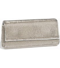 whiting & davis 'pyramid' mesh clutch - metallic