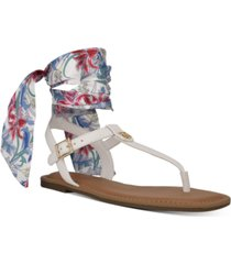 tommy hilfiger jinis ankle tie thong sandals women's shoes
