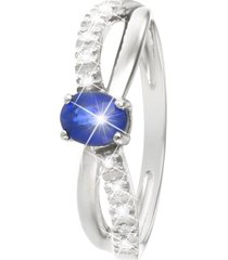 anello in oro bianco, zaffiro 0,50 ct e diamanti 0,06 ct per donna