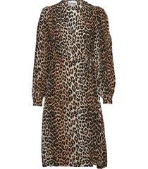 silk mix wrap dress knälång klänning brun ganni