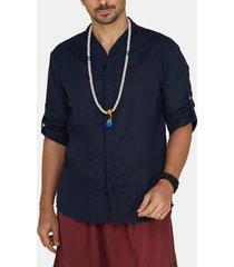 uomo camicia in lino cotone a 3/4 maniche con collo v