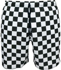 shorts alkary elástico quadriculado preto e branco