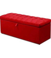 calçadeira recamier baú casal 140cm italia suede vermelho - ds móveis