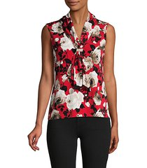 faux pearl cluster floral top