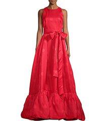 tonal dot ruffle gown