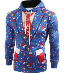 3d christmas elements blazer print hoodie
