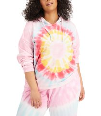 full circle trends trendy plus size tie-dyed hoodie sweatshirt