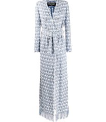balmain fringe detail belted coat - blue