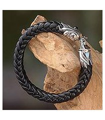 men's leather and sterling silver bracelet, 'fireballs' (indonesia)