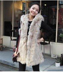 premium quality womens faux fur vest jacket coat with hood