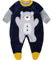 macacã£o longo feito em plush bordado urso marinho curioso azul marinho - azul marinho - menino - dafiti