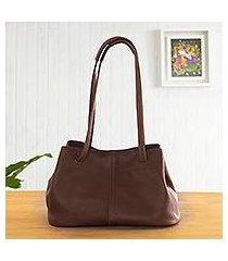leather shoulder bag, 'stylish in brown' (peru)