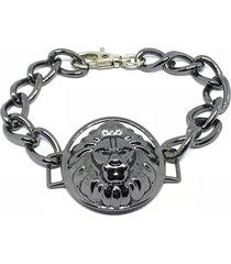 pulseira kodo acessórios leão cromada