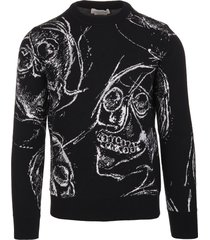 alexander mcqueen man black jacquard sweater with painted skull
