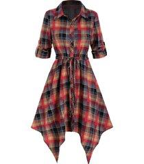 plaid print drawstring irregular shirt dress