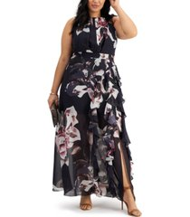betsy & adam plus size printed chiffon gown
