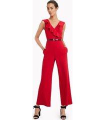 tommy hilfiger women's essential sleeveless ruffle jumpsuit scarlet - 4