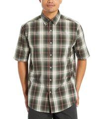 wolverine men's mortar short sleeve shirt shadow gray plaid, size l