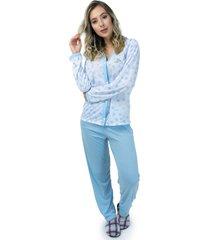 pijama mvb modas aberto blusa com botões e calça azul - kanui