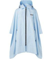 burberry detachable-hood logo-patch cape - blue