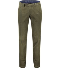 pantalon portofino flatfront regular fit groen