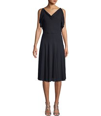 cowlneck stretch-silk knee-length dress