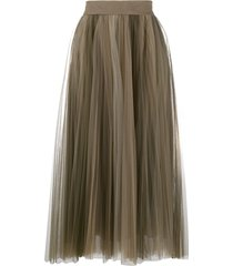 brunello cucinelli pleated tulle midi skirt - green