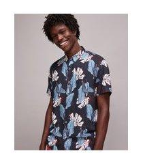 camisa masculina tal pai tal filho estampada de folhagem manga curta azul marinho