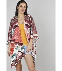 kimono feminino amplo estampado tropical coral