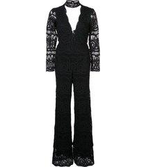 alexis onatta crochet jumpsuit - black
