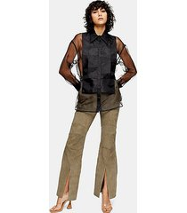 *olive green real suede flare pants - olive