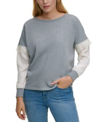 dkny mixed-media lace-trim sweatshirt