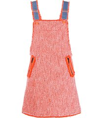 sjyp tweed overall dress - orange