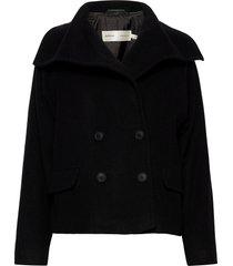 zelieiw short coat wollen jas lange jas zwart inwear