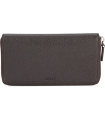 bally men's maas leather zip-around wallet - chocolate
