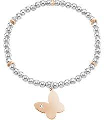 bracciale farfalla in acciaio bicolore e cristalli per donna