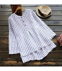 zanzea raya de las mujeres camisa floja de las tapas ocasionales de botones de algodón de cuello étnico tamaño de la blusa plus -azul