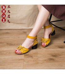 sandalias de tacón bajo apiladas con tacón bajo de cuero para mujer