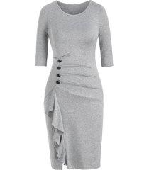button ruched marled sheath dress