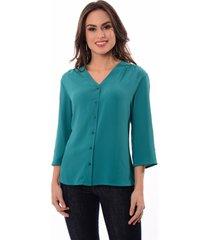 camisa decote v detalhe botoes manga 447300 verde - verde - dafiti